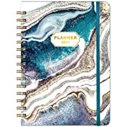 """Planner 2021 - Weekly & Monthly Planner with Tabs, 6.3"""" x 8.4"""", Hardcover with Thick Paper + Back Pocket + Banded, Twin-Wire Binding - Blue"""