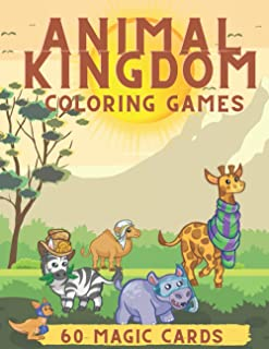 Animal Kingdom: Coloring Pages for toddlers, Games and Activities, 60 Magic Cards, Activity Book for a Toddler 3-6 Years O...
