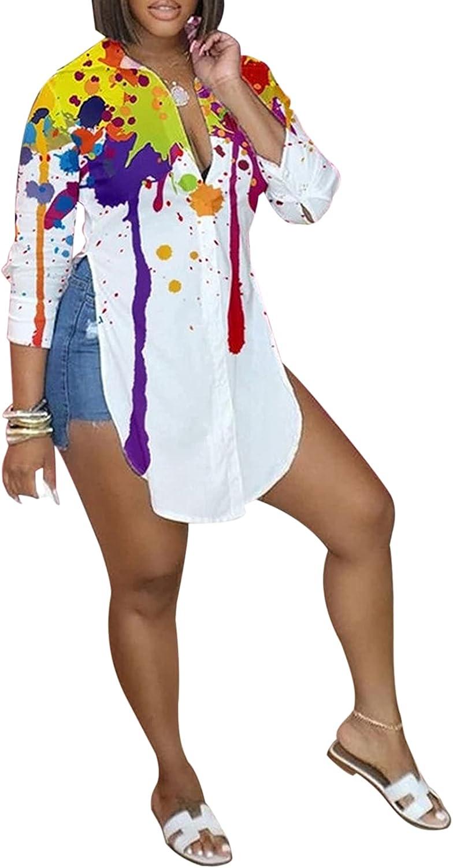 KIRJAUDU Women V-Neck Casual Shirt Solid Color Buttons Long Sleeve Side Slit Curved Hem Blouse Top
