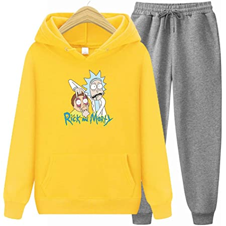 MenS Sweatshirt Hoodies Top Gym Joggers Sweatpants Women Rick and Morty Printed Tops with Front Pocket,Dark Gray,S