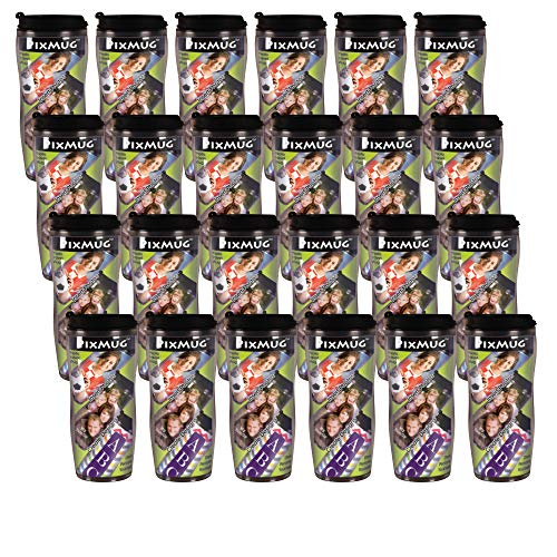 PixMug - 24 Pack - Photo Travel Mug - The Mug That's A Picture Frame - DIY - Insert your own photos or designs - 14 oz with flip top