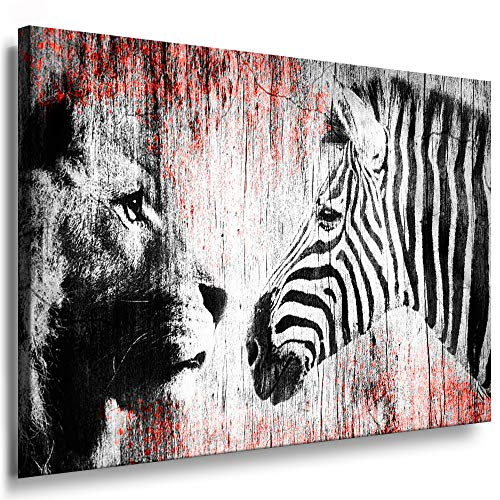 Julia-Art - Bilder Zebra, Löwe Leinwand mit Keilrahmen 100 x 70 cm Leinwandbild XXL Wandbild Tiere Kunstdrucke Tierwelten Bild Wanddesign Wanddekoration c-642v-208