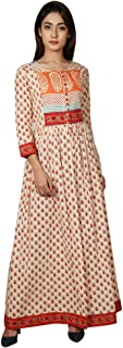 Missprint Beige and Orange Hand Block Printed Cape Kurta with Pants