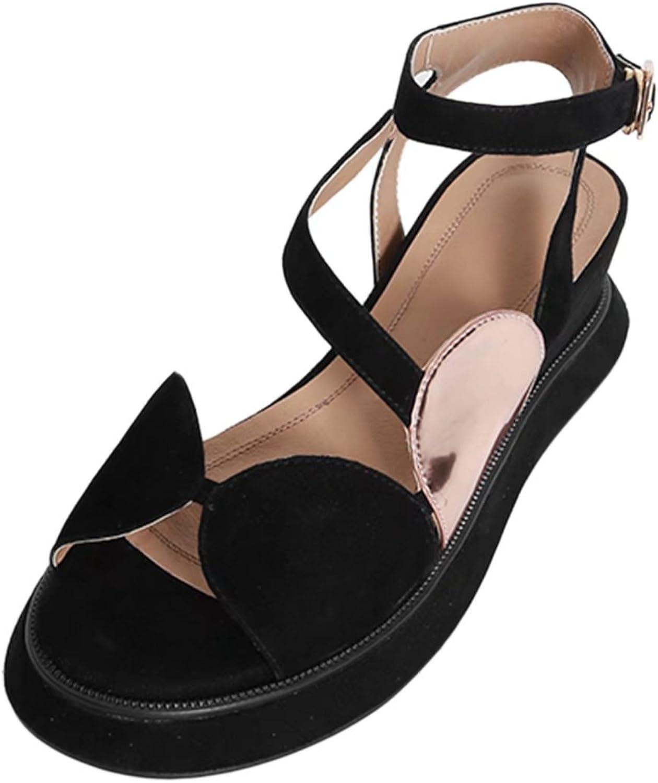 VIMISAOI New Women Summer Open-Toe Fashion Flake Ankle Straps Flat Sandals