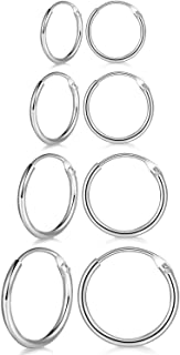 CNNIK 4 paia 10mm 12mm 14mm 16mm 925 sterling silver ipoallergenico mini piccoli orecchini a cerchio di cartilagine infini...