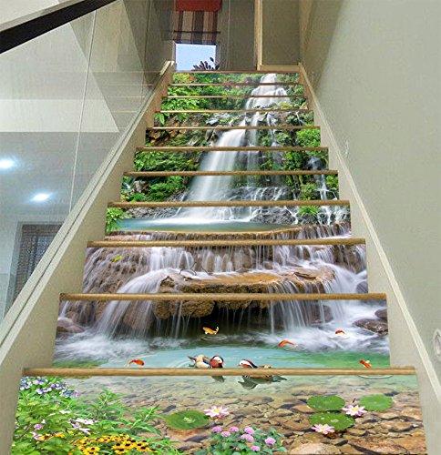 3D Wasserfall Lotus Landschaft 3995 Stair Risers Dekoration Fototapete Vinyl Aufkleber Tapete DE Lemon (15x H:18cm x W:102cm (7