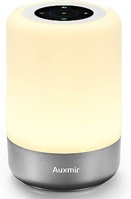Auxmir LED Nachttischlampe Touch Tischlampe Berührungssensor Farbwechsel mit Warmweißem Licht und 8 Farben Dimmbar Atmosphäre Nachtlicht für Schlafzimmer Wohnzimmer und Büro [Energieklasse A]