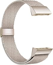 POY Compatible for Fitbit Charge 3 Bands,Replacement Wristbands for Charge 3 SE Fitness Activity Tracker, Metal Stainless Steel Bracelet Strap with Unique Magnet Lock for Women Men