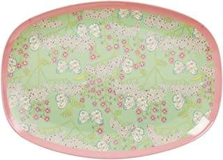 Rectangular de melamina placa con impresión de flores y