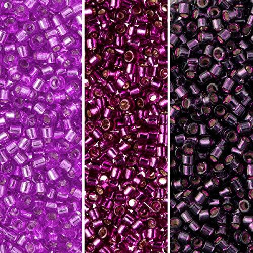 Miyuki Delica Seed Beads Bundle: Size 11/0, Palette Collection DB611, DB1342, DB1345, 7.2 Grams, 3 Tubes