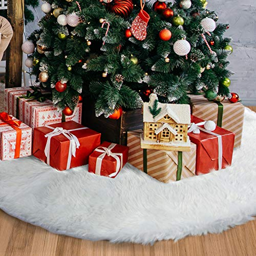 TOBEHIGHER Christmas Tree Skirt - 48 inches White Luxury Soft Faux Fur Tree Skirt, Pets Favors for Xmas Tree Decorations and Ornaments Fluffy Long Fur