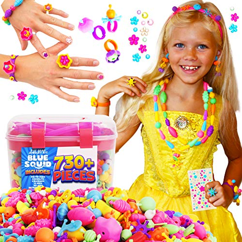 Snap Pop Beads for Girls – 730pcs Kids Jewelry Making Kit by Blue Squid, Pop-Bead Art and Craft Kit DIY Necklace Hairband Bracelet Ring Earring Great Toys for Age 4 5 6 7 8 Year Old Girl Gifts Toy Set