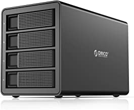 ORICO 4 Bay USB 3.0 to SATA External Hard Drive Enclosure Support 64TB, 2.5/3.5 inch HDD SSD Enclosure Built-in 150W Power/Dual Chip for Enterprise Data Storage Backup, Server Expansion (No RAID)
