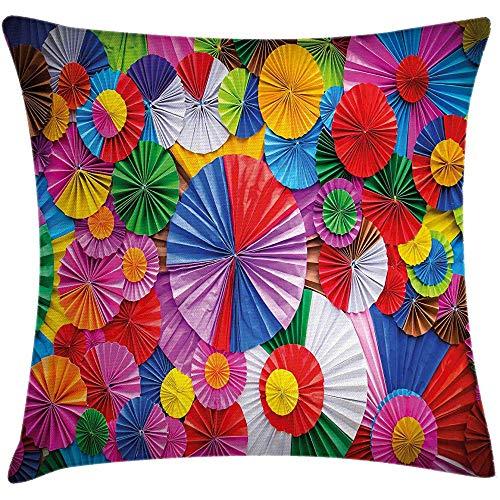 sherry-shop Funda de cojín de cojín de Colores, Papel de Cerca formado como Origami Circular Inspirado Vista Superior pintoresca, Multicolor