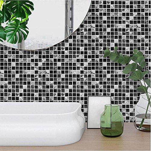 MI-RAN 10pcs Adesivi per piastrelle | Adesivo Piastrelle – Decori retrò – per la stanza da bagno Cucina Decorazione – Mosaico nero TS039, 20cm*20cm