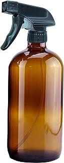 BOTTMA 16oz Empty Amber Glass Spray Bottles Boston glass bottle, spray bottle, Refillable essential oil bottle with Black Trigger Sprayers and caps