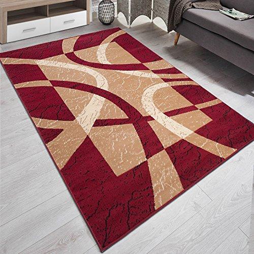 Carpeto Designer Teppich Modern Rahmen Gestreift Kurzflor Meliert In Rot - ÖKO TEX (140 x 200 cm)