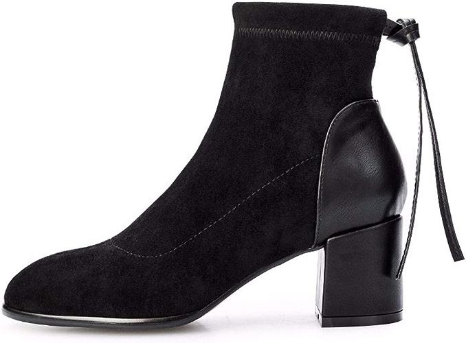 SFSYDDY Chaussures Populaires British épais Talon avec 6 Cm Tête Ronde Bottines Talon Haut à l'aise Joker Arrière-Court des Bottes.