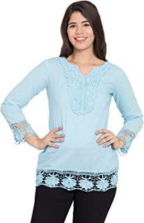 STITCH VASTRA V Neck Full Sleeve with Lace Attached Women's Top