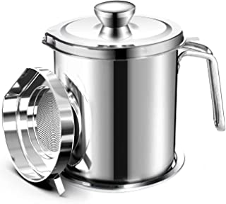 O9 O-Nine Oil Strainer Pot Grease Can 1.8 L Stainless Steel Oil Storage Can Container with Fine Mesh Strainer Dust-Insect-...