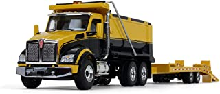 First Gear 1/50 Scale Diecast Collectible Yellow/Black/Yellow Kenworth T880 Dump Truck with Beavertail Trailer (50-3406)
