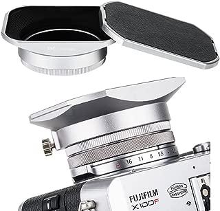 JJC Metal Square Lens Hood w/ABS Hood Cap Protector & 49mm Thread Filter Adapter Ring for Fujifilm X100F X100T X100S X100 X70 Digital Camera Replaces Fuji LH-X100 Lens Hood & AR-X100 Adapter/Silver