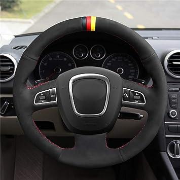 Hcdswsn Schwarz Rot Wildleder Lenkradbezug Aus Leder Für Audi A3 8p A4 B8 A5 A8 A8 A8 L Q7 Rs4 S4 S5 S6 S8 Sport Freizeit