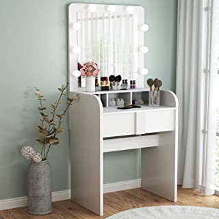 TribesignsVanity Table Setwith Lighted Mirror,Makeup Vanity Dressing Tablewith 9 Cool Light Bulb, ModernDressing Table Dresser Deskwith Drawers for Bedroom,(White)