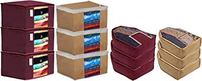 Kuber Industries Non Woven 6 Pieces Saree Cover/Cloth Wardrobe Organizer and 6 Pieces Blouse Cover Combo Set (Maroon & Brown) - CTKTC045403