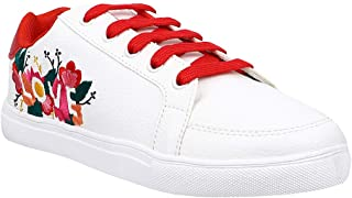KazarMax Women White Love Embroidery Sneakers Shoes