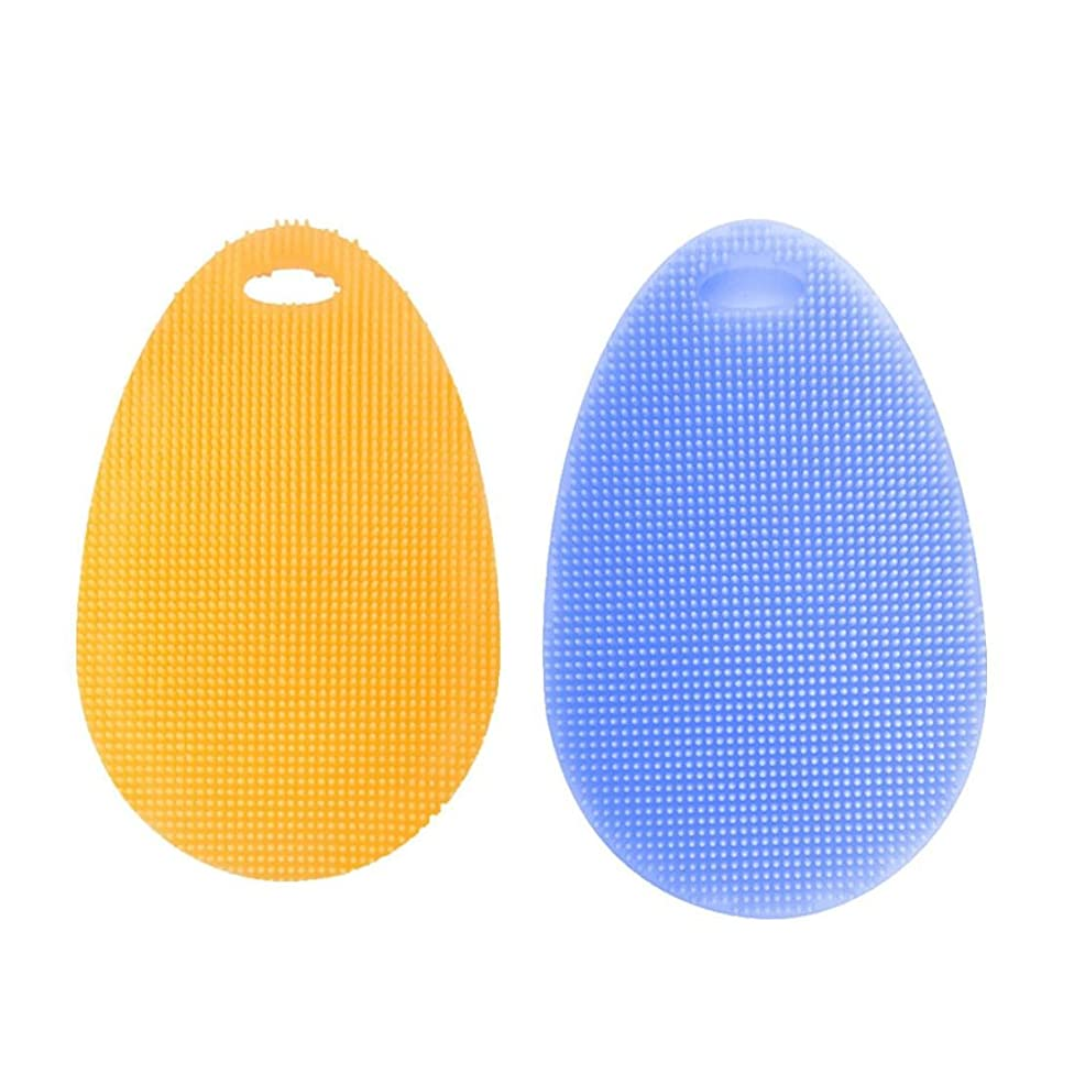 Kitchen Tool,2Pcs Silicone Scrubber for Dishwashing, Cleaner Sponge Brush - Clean Kitchen Dishes Pot Pan Bowl and Wash Fruits and Vegetables - Antibacterial Non Stick Tool Vibola (B)