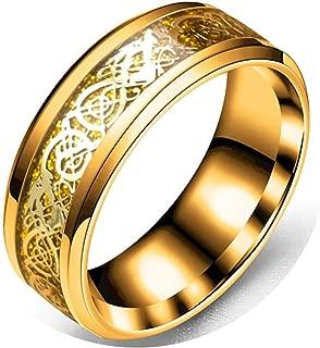 Anillos Pareja Acero Inoxidable Compromiso Patrón de Dragón Oro Negro Plata Anillos Compromiso Hombre y Hombre