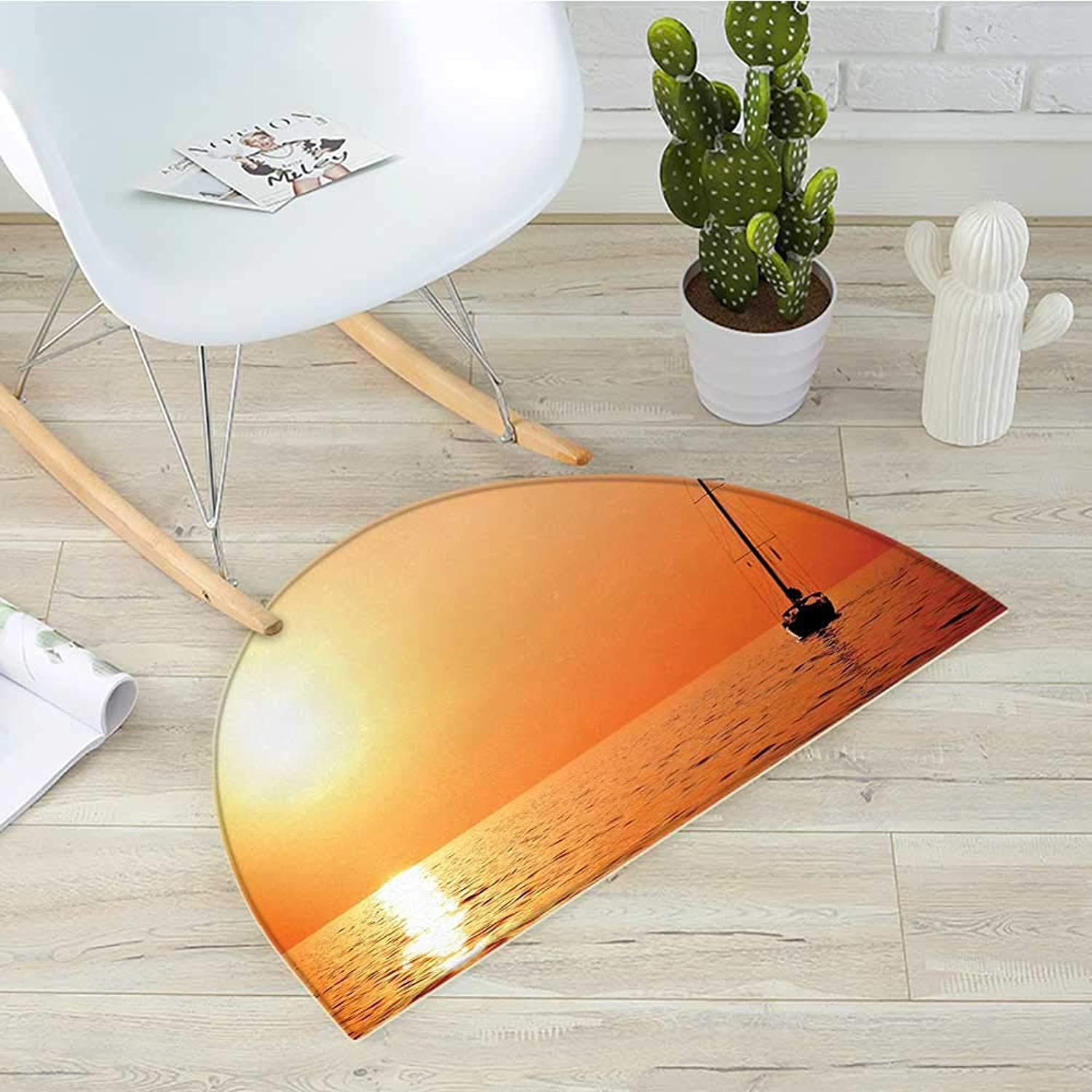 Sailboat Semicircular CushionLonely Yacht at Sunset Sailing Competition Race Teamwork Marine Vessel Winner Entry Door Mat H 19.7  xD 31.5  orange Yellow