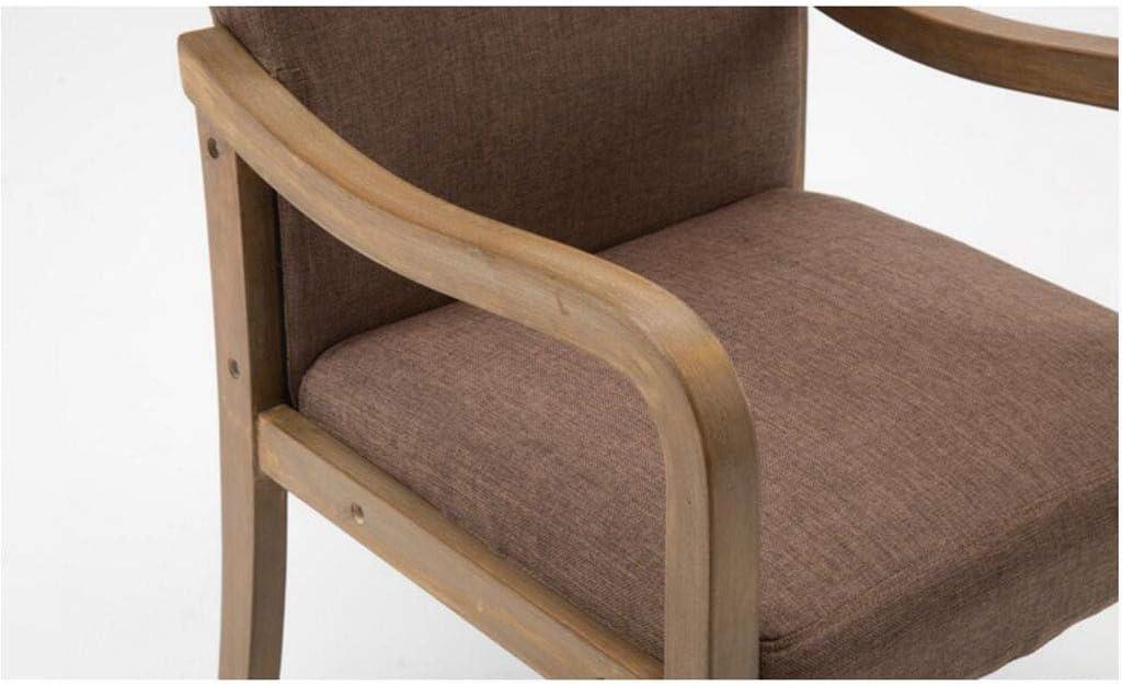 MXXYZ Chaise Fauteuil de loisirs Table et chaise rétro en bois massif Chaise de salle à manger en tissu accoudoirs chaise longue hôtel restaurant (couleur : A11) A3