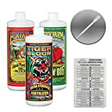 Fox Farm Liquid Nutrient Trio Soil Formula: Big Bloom, Grow Big, Tiger Bloom (Pack of 3-32 oz Bottles) 1 Quart Each + Twin Canaries Chart & Pipette