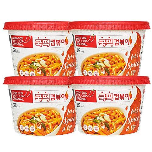 RICE CUP Korean Tteokbokki Original 5.74oz(163g) x 4ea   Spicy Rice Cake   Tteokbokki   Rice Cake Tteokbokki   Popular Korean Snack