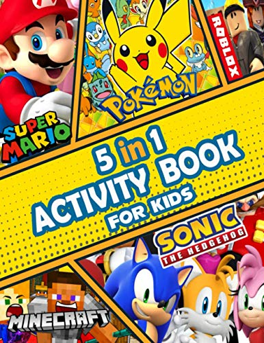 Sonic the Hedgehog, Super Mario, Minecraft, Roblox, Pokemon 5 in 1 Activity...