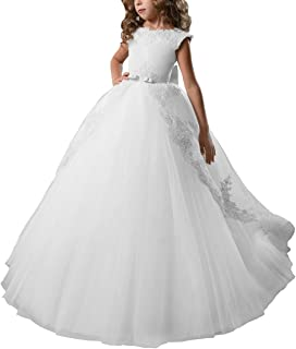 AbaoSisters Flower Girl Dress Fancy Tulle Satin Lace Cap Sleeves Pageant Girls Ball Gown White Ivory