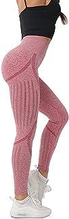 Lianshp ZHENGUAN High Waist Seamless Workout Leggings Yoga Pants Running Tummy Control Turnup Hips Athletic Leggings Pink S