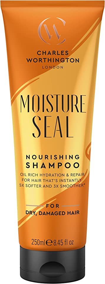 Charles Worthington Moisture Seal Nourishing Shampoo, Moisturising Shampoo for Dry Hair, Salon Deep Moisturising Shampoo for Women, Dry Hair Repair with Coconut, Argan and Macadamia Oils, 250 ml