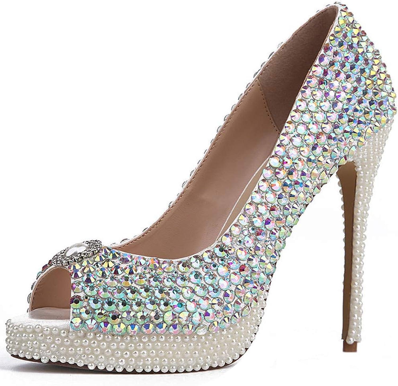 Charmstep Frauen Plateau High Heels Sandalen Sandalen Strass Peep Toe Pumps Diamante Braut Party Schuhe  Modegeschäft zu verkaufen
