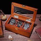 KMDJ. Hölzerne Uhrenbox, Uhren-Organizer mit Kissen, abschließbarer Schmuck-Anzeigen-Koffer-Organisator, schwarz/braun Exquisite Uhren-Uhr-Watch-Anzeigen-Box Herren Schmuckschatulle