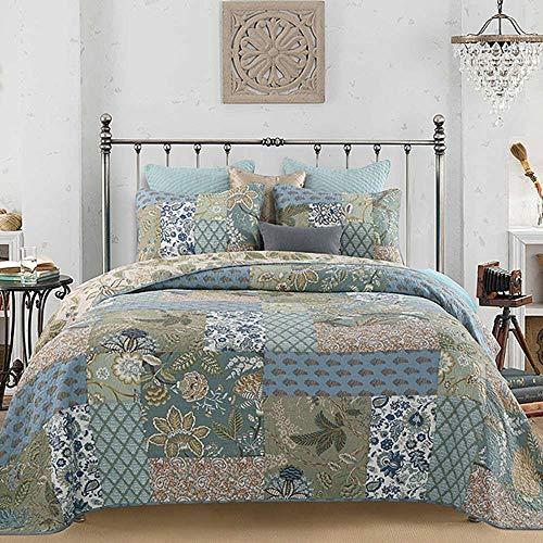 YAYIDAY Bettwäsche Set, atmungsaktive Baumwolle, massives handgefertigtes Blumenmuster, Gesteppte Tagesdecke mit Kissenbezügen, Moderne Decke (Patchwork Green King)