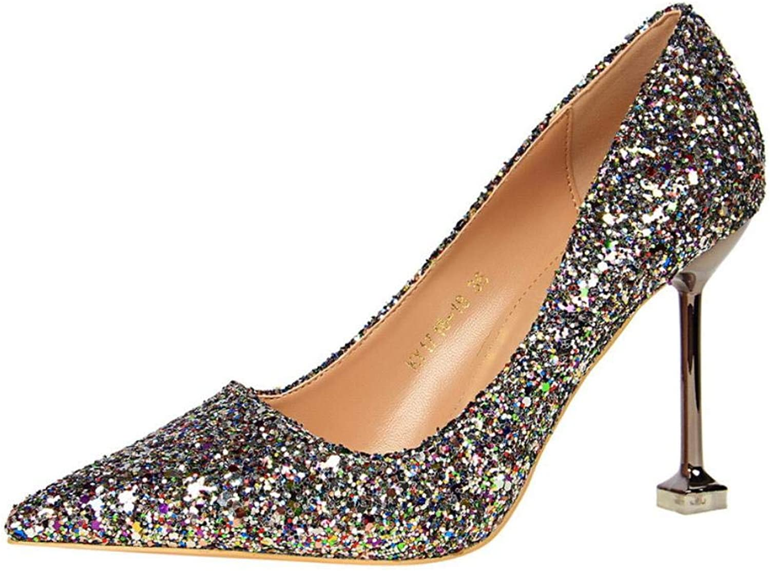 Women Sexy Sequined Glitter Pumps Super High Heels Pointed Toe Thin shoes