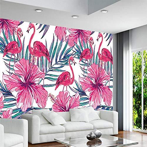 ZJfong 3D behang wandafbeeldingen Scandinavisch handgetekende flamingo palmbladeren wandafbeelding bank slaapkamer woonkamer TV achtergrond 140 x 70 cm.