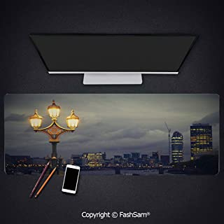 Desk Gaming Mouse Pad Non-Slip Westminster Bridge London City UK Stormy Moody Weather European Urban Travel Decorative Keyboard Pad for Laptop(W27.5xL11.8)
