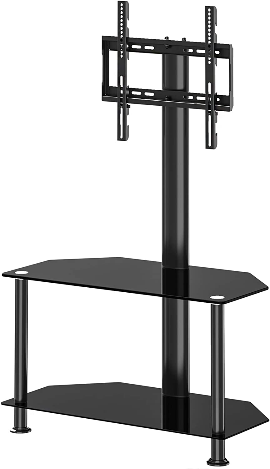 FITUEYES Floor TV Stand with Swivel Mount and Height Adjustable Flat Curved Screen TV for 32 50 55 inch Vizio Sumsung Sony Tvs Max VESA 400x400 FTW207502MB