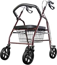 PXY Walking Frame,Folding Lightweight Folding Four Wheel Rollator Walker with Padded Seat, Ergonomic Handles and Carrying ...