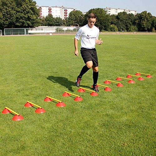 Mini-Hürden 10er Set, rote Mulden und gelbe Stangen 50 cm mit Tragetasche, für Fußballtraining