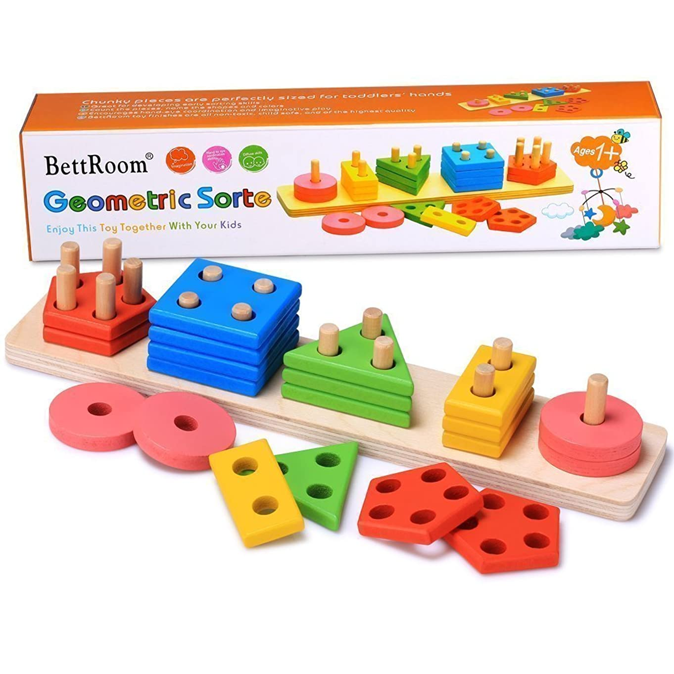 BettRoom Wooden Educational Preschool Toddler Toys for 1 2 3 4-5 Year Old Boys Girls Shape Color Recognition Geometric Board Blocks Stack Sort Kids Children Non-Toxic Toy(14IN)